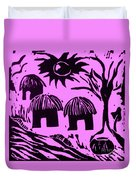 African Huts Pink Duvet Cover