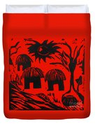 African Huts Red Duvet Cover