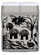 African Huts White Duvet Cover