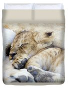 African Lion Cub Sleeping Duvet Cover