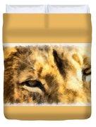 African Lion Eyes Duvet Cover