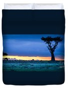 African Panoramic Sunset Landscape Duvet Cover