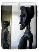 African Statue Reflection Duvet Cover