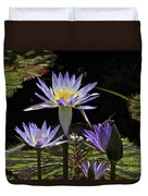 African Waterlily Dazzle -- Plus Dragonfly Duvet Cover