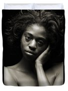 Chynna African American Nude Girl In Sexy Sensual Photograph And In Black And White Sepia 4784.01 Duvet Cover