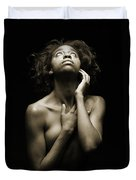 Chynna African American Nude Girl In Sexy Sensual Photograph And In Black And White Sepia 4782.01 Duvet Cover