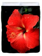 Georgia Red Hibiscus After A Rain Greensboro Georgia Art Duvet Cover