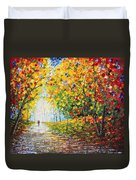 After Rain Autumn Reflections Acrylic Palette Knife Painting Duvet Cover