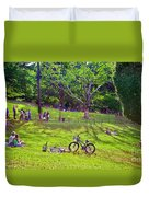 Afternoon In The Park With Friends Duvet Cover