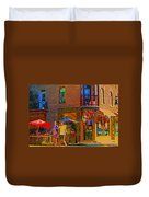 Afternoon Stroll French Bistro Sidewalk Cafe Colors Of Montreal Flags And Umbrellas City Scene Art Duvet Cover