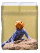 Agama Lizard On Rock Duvet Cover