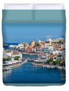 Agios Nikolaos Town Duvet Cover