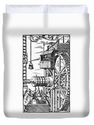 Agricola Waterwheel, 1556 Duvet Cover