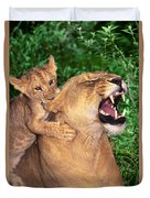Ah Being A Mother Is Wonderful African Lions Wildlife Rescue Duvet Cover