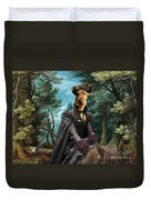 Airedale Terrier Art Canvas Print - Forest Landscape With Deer Hunting And Noble Lady Duvet Cover