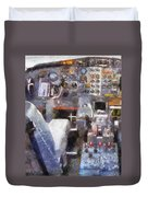 Airplane Cockpit Photo Art Duvet Cover
