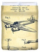 Airplane Patent Drawing From 1938-vintage Duvet Cover