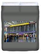 Airport Departure Board Frankfurt Germany Duvet Cover