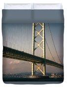 Akashi Kaikyo Bridge Sunset Duvet Cover