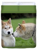 Akita Inu Dogs, Old And Young Duvet Cover