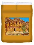 Al-dayr Or The Monastery In Petra-jordan  Duvet Cover