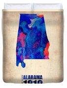 Alabama Watercolor Map Duvet Cover by Naxart Studio