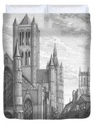 Alarming Morning In Ghent. The Left Part Of The Triptych - The Age Of Cathedrals Duvet Cover