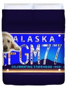 Alaska License Plate Duvet Cover
