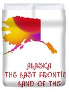 Alaska State Map Collection 2 Duvet Cover