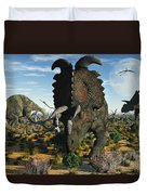 Albertaceratops Dinosaurs Grazing Duvet Cover