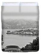Alcatraz Island From Hyde Street In San Francisco Duvet Cover