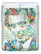 Aldous Huxley - Watercolor Portrait Duvet Cover
