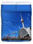 Alexanderplatz Sign And Television Tower Berlin Germany Duvet Cover