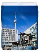 Alexanderplatz View On Television Tower Berlin Germany Duvet Cover