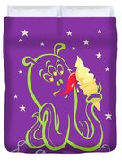Alien Ice Cream -vector Version Duvet Cover by Martin Davey