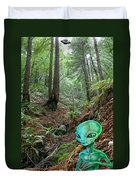 Alien In Redwood Forest Duvet Cover