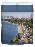 Alki Beach And Downtown Seattle Duvet Cover