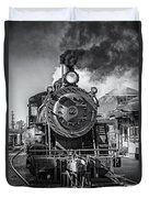 All Aboard Bw Duvet Cover