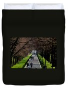 Alley Of Trees With Runners And Joggers Duvet Cover