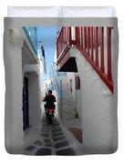 Alley Way In Mykonos Duvet Cover