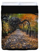 Alley With Falling Leaves In Fall Park Duvet Cover