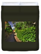 Alley With Green Plants Duvet Cover