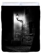 Alley Of Prague In Black And White Duvet Cover