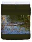 Alligator Swimming In Blue Water Duvet Cover