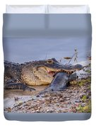 Alligator With A Fish Duvet Cover