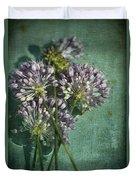 Allium Wildflower With Grunge Textures Duvet Cover