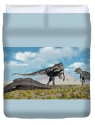 Allosaurus Dinosaurs Approaching Duvet Cover