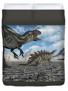 Allosaurus Dinosaurs Moving In To Kill Duvet Cover