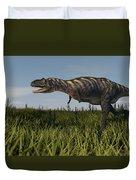 Alluring Aucasaurus In Grassland Duvet Cover