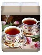 Almond Tea For Two Duvet Cover
